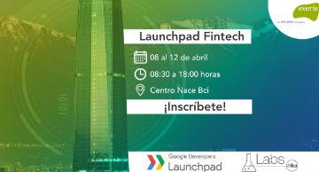 Gráfica de evento con logo de everis, Google y Labs Bci