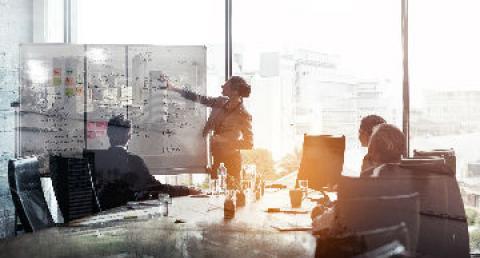 Ejecutiva presentando en reunión